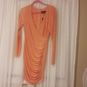 slinky peach party dress